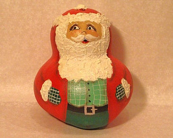 Santa Bottle Gourd, Christmas, Red with Green Shirt, Handpainted (S1143)