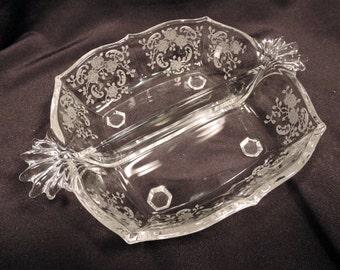 Fostoria Meadow Rose Two Part Serving Bowl Elegant Glassware Vintage