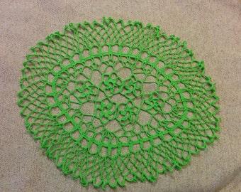 Green table coaster centerpiece placemat crochet handmade