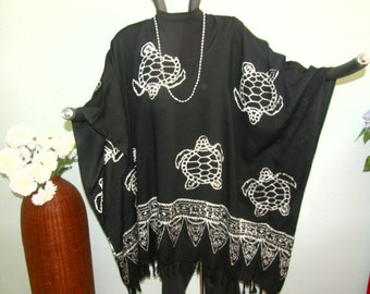 TURTLE BATIK Top Tunic or Dress - Black and White Batik Fringed Cloth from Indonesia - All Size including Plus Size, All Purpose, All Season