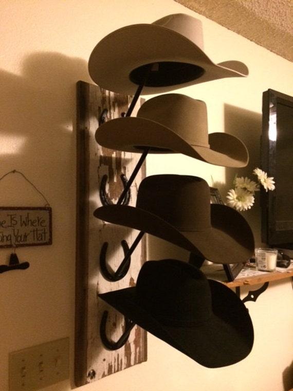 Horseshoe and Barn Wood Cowboy Hat Rack FREE SHIPPING