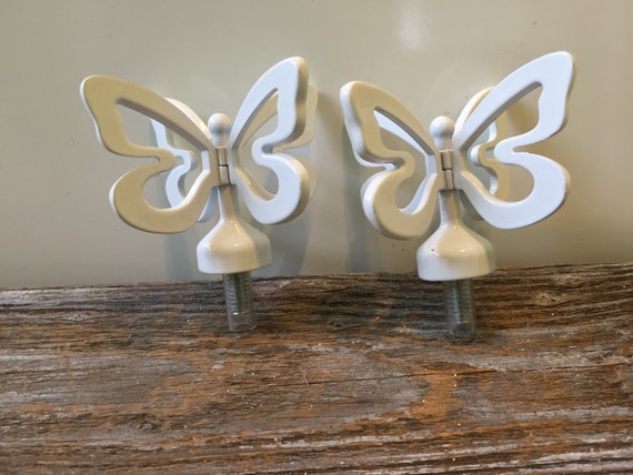 White Metal Butterfly Finials Curtain Rods Mixed Media Art