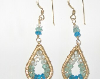 Gold filled, aquamarine and apatite earrings.