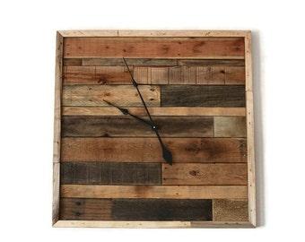 "Large Rustic Pallet Wood Wall Clock 30"" x 30"" reclaimed wood clock Handmade square pallet clock"