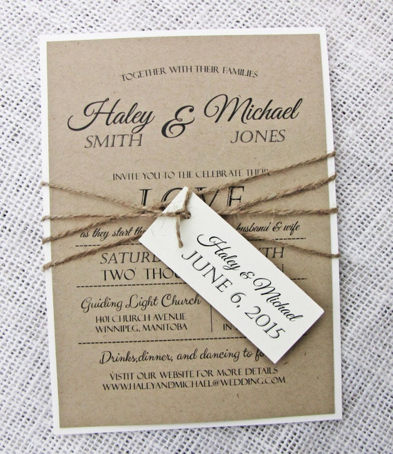 Printable Wedding Invitations: Items Similar To Rustic Wedding Invitation, Diy Printable