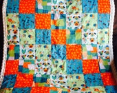 Brightly Colored Cartoon Dog Quilt - Orange, Blue, and Green Dog Quilt - Cartoon Dog Blanket