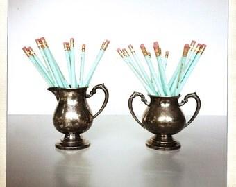 silver plated copper sugar bowl and creamer vessel rustic  vintage