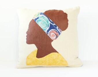 Home Decor Pillow, Sofa Pillow, Bohemian Pillow, Applique Pillow, Ethnic Pillow, Tribal Pillow, Blue & Yellow Pillow, African Pillow