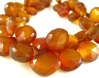 "Honey Chalcedony Faceted Heart Briolette- 7"" Strand -Stones measure-9-13mm"