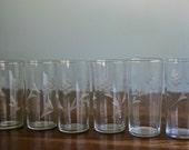 Vintage set of 6 tall etched crystal glasses