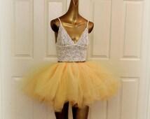 Adult tutu yellow buttercup tutu skirt, tulle tutu, rave edc raver outfit,  ballerina tutu, dance tutu, color run tutu,80s clothes