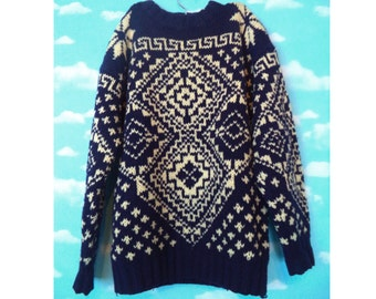 Navy Nordic Weave Thick Wool Sweater