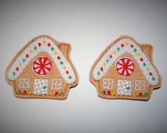 Set of 2 Peppermint Candy Gingerbread House Feltie Felt Embellishments