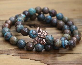 Agate/ agate bracelet/ butterfly jewelry/ bracelet/ beaded bracelet/ butterfly