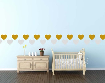 Heart Wall Decals-Alternative Wallpaper-Gold or Silver Hearts