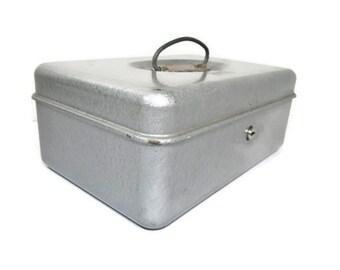 Silver Metal Tool Box Cash Box Vintage by Union