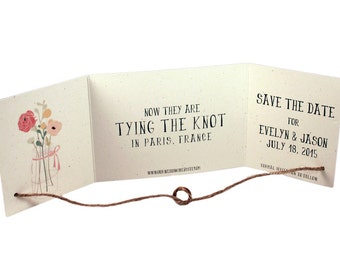 Rustic Tying the knot save the date set of 50, Tying knot invitation, mason jar save the date, recycled save the date, tie the knot card
