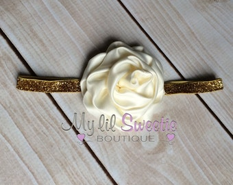 Ivory gold headband - sparkly headband- newborn headband- infant headband- toddler headband- rosette headband