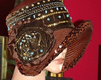 Brown Flapper Hat Cloche 1920s Theme Special Events Hat