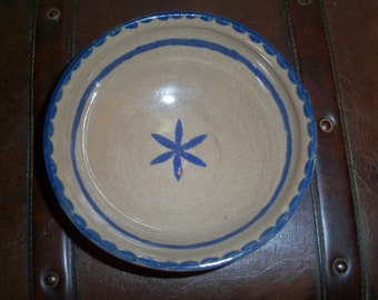 Vintage Pottery Bowl with Blue Flower
