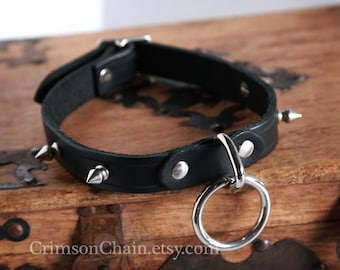 Black unlined spike collar by Crimson Chain Leatherworks