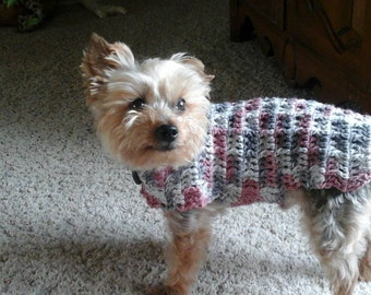 dog sweater, handmade pet sweater, multi color yarn, choose your colors, crocheted sweater, custom make dog sweaters, dog vests,
