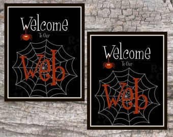 Halloween Welcome Sign Halloween wall art Halloween Home decor Halloween Calligraphy Typography 8X10 Halloween print PRINTABLE wall art