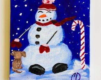 christmas painting, Refrigerator Magnet, Snowman painting, Christmas Magnet