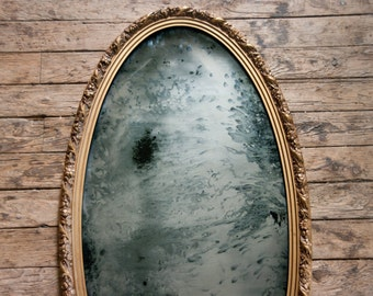 Oval Antiqued Silver Mirror, 39x21 Silvered Glass Mirror