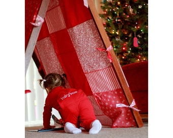 Kids Photo Props Tent Frame and Patchwork Cover Children Photography Prop Outdoor Red and White Christmas Photography Props Kids Posing Prop