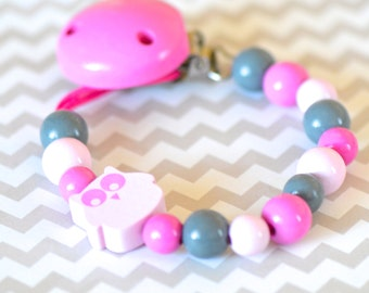 Baby pacifier clip, wood pacifier clip, pacifier holder, pink grey pacifier clip, girly pacifier clip, owl pacifier clip, soother clip