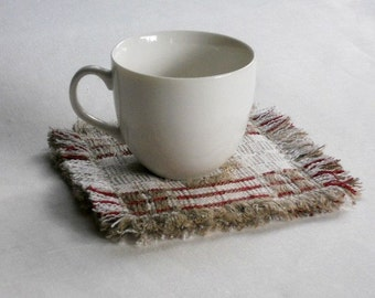 Fabric coasters set of 6 handwoven natural linen mug rugs thick checked fringed drink coasters with raw edge