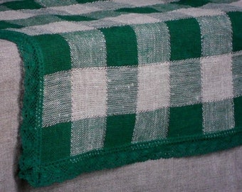 Linen table runner natural gray green checked washed runner with lace edge trim