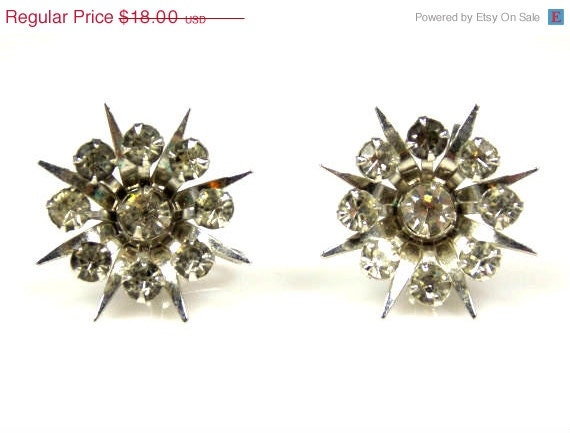Vintage bugbee niles spiked rhinestone cluster screw back for Bugbee and niles jewelry
