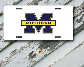 "License Plate Michigan University On White Design  on 6"" x 12""  Aluminum License Plate"