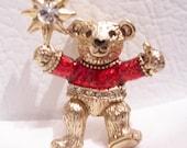 Vintage bear brooch - Christmas bear metal brooch - teddy bear brooch - vintage Christmas jewelry - vintage bear jewelry - vintage Christmas