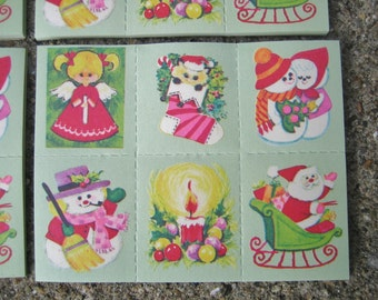 Vintage Christmas Stickers/Seals 15 Full Sheet 90 Stickers