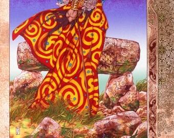 "Celtic Irish Fantasy Art BREAS THE BEAUTIFUL 16x11""."