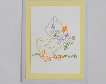 "Hand Embroidered card ""Spring Ducky"", embroidered greeting card"