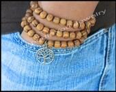SET of 3 - TREE of Life / WOOD Stretch Boho Bracelet - Wood Beads / Silver Tree of Life Symbol Peace Luck Stretch Stacking Bracelet - 91