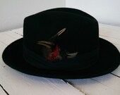Lf Fedora 100% wool mens fedora hat Vintage Medium Black Feathers Red Costume theme capas design party wedding new years gift
