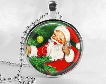 SANTA CLAUS Necklace,VIntage Christmas, Santa, Santa Claus, Christmas Necklace, Christmas Jewelry, Vintage Christmas, Santa Claus Necklace