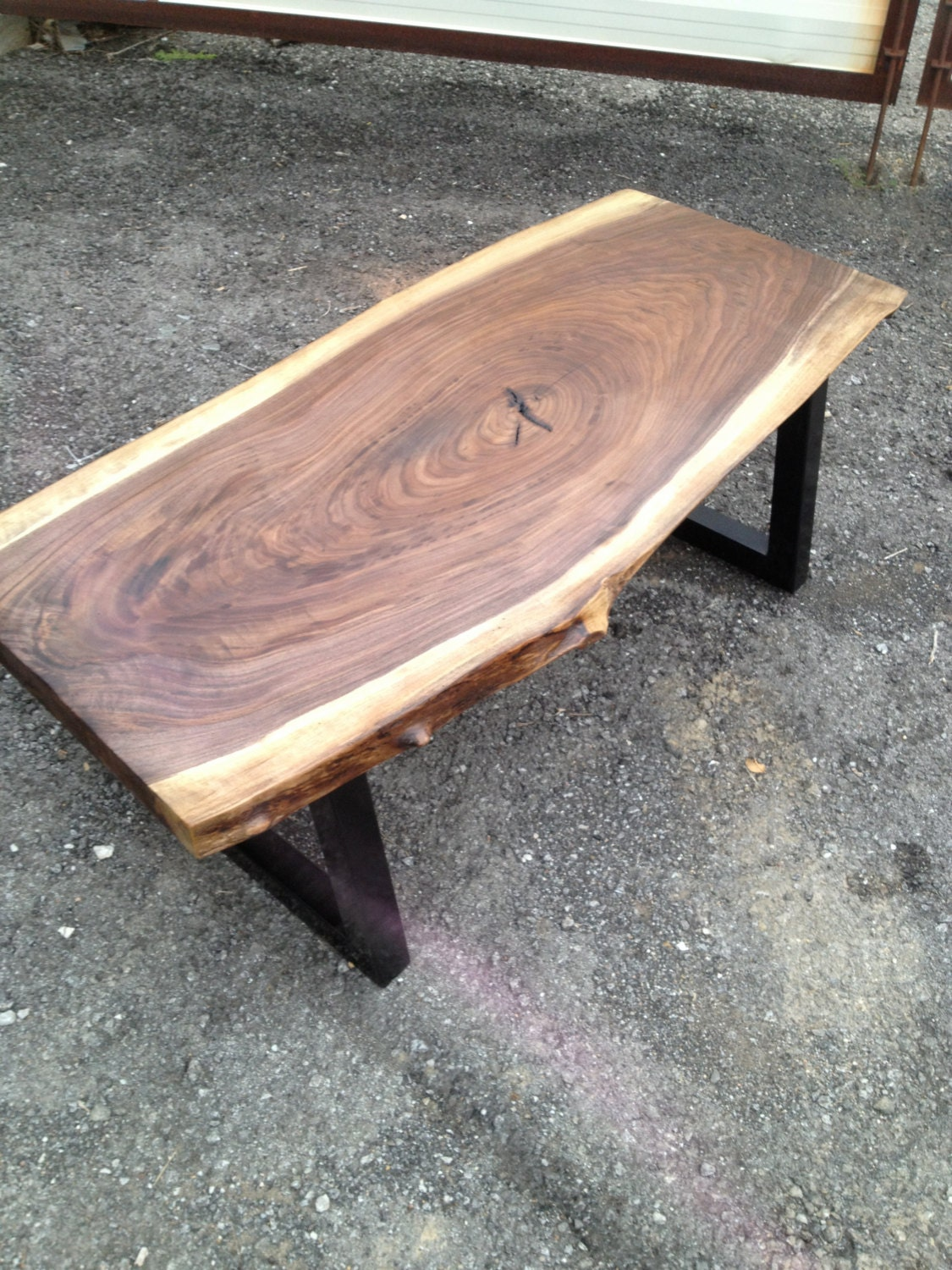 Live edge rustic modern black walnut coffee tables with metal Rustic black coffee table