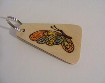 key chain, key fob, butterfly key chain, butterfly key fob, wooden key chain, wooden key fob.