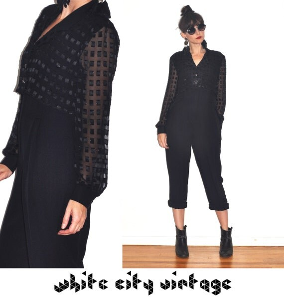 Vintage 80s Black Pant Suit Sheer Top Cocktail Cropped Holiday