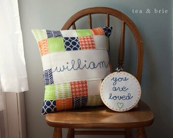 "Coordinating Pillow Cover and Hoop BUNDLE: 14"" pillow cover and 5"" You Are Loved Hoop"