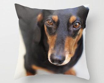 Dog Pillow Dachshund Pillow - Dog Cushion - Doxie Pillow - Dachshund Gift - 16x16 18x18 20x20 Pillow Cover Black and White