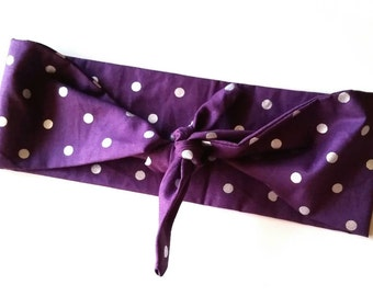 Purple And Metallic Polka Dot Bandana