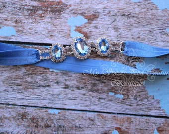 Light Blue Rhinestone Headband ~ Luxe Couture Rhinestone Headband- Aquamarine Rhinestone Headband- Light Blue Headband- Newborn Headband