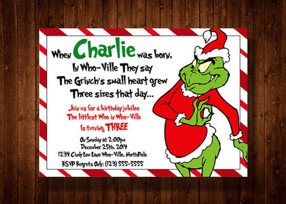 The Grinch Birthday Party Invitations
